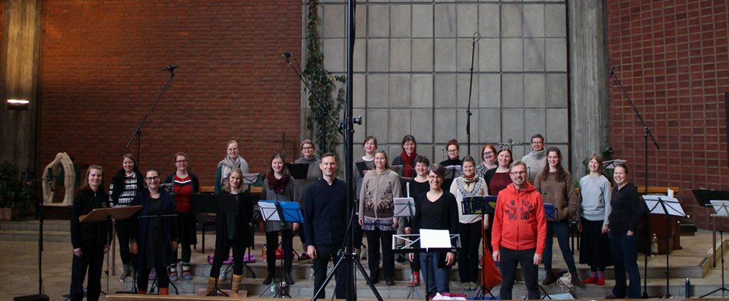 Kaari-ensemble Roihuvuoren kirkossa helmikuussa 2020.
